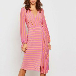 Topshop Women's Faux Wrap Striped Dress Keyhole